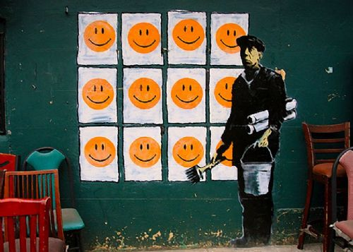BANKSY - Happy faces wall canvas print - self adhesive poster - photo print